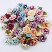 10 pcs 4cm Silk Rose Artificial Flower Wedding Leaves Decoration Items Wreath DIY Handicraft Flowers Fake Simulation Cheap(China)