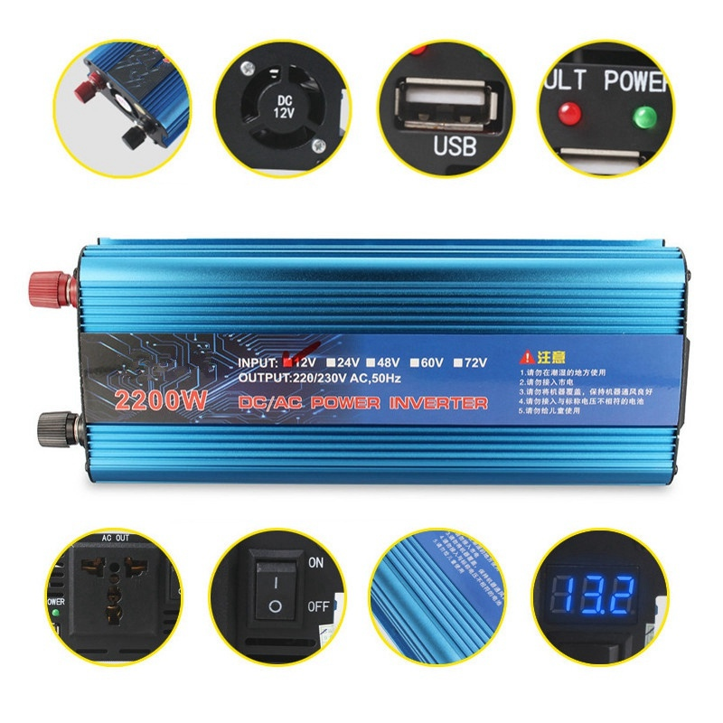 Best Price 2200W DC12V to AC220V Adapter Power Converter LCD Digital Display Power Inverter Charger Vehicle Power Supply Switch best price power converter cable adapter for lenovo thinkpad x1carbon