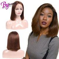 #4 коричневый парик человеческих волос для черных Для женщин bybrana волос Цветной 100% Реми бразильские прямые волосы Блант с короткий боб парик