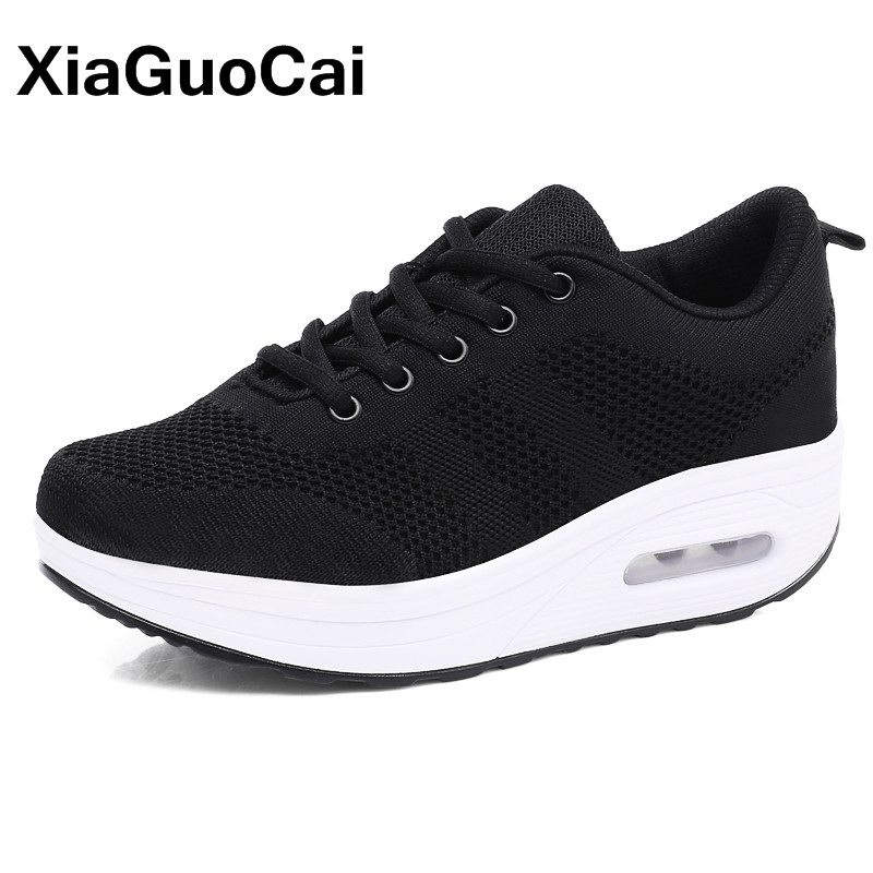 Women Casual Shoes Mesh Platform Shoes Female Fly Weave Cushioning Sneakers Outdoor Spring Height Increasing Flat Footwear