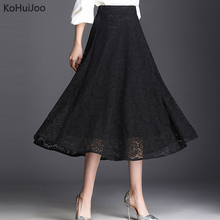 KoHuiJoo Summer Long Lace Skirts for Women High Waist Solid Casual Loose Plus Size A Line Maxi Skirt Female Black M-4XL