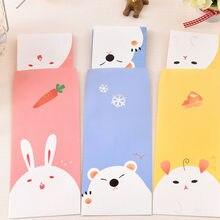 Милый мультяшный бумажный корейский канцелярский подарок, 6 листов, бумага с буквами+ 3 шт конвертов в комплекте, винтажные крафт-бумажные конверты, подарочный набор