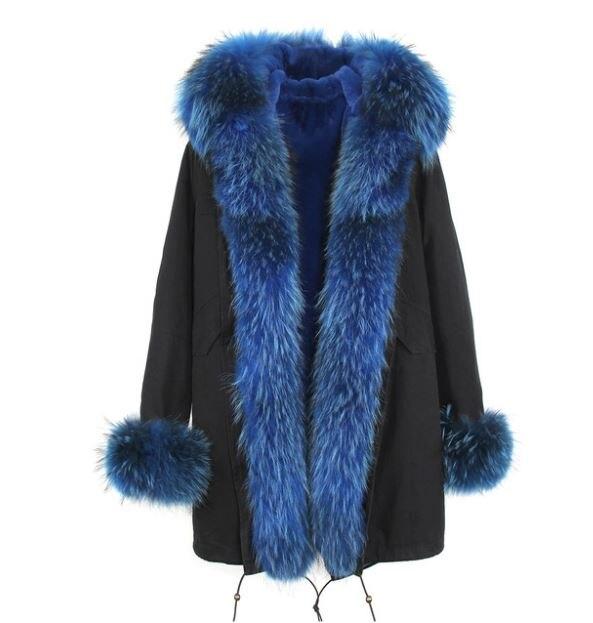 Американский стиль Горячая Распродажа Женская мода Большой настоящий Енот с капюшоном и джинсы с отворотами плюс размер толстые длинные пальто куртки верхняя одежда бренд - Цвет: C5