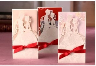 50pcs elegant white red laser cut hollow wedding invitation card with ribbon envelopes and seal