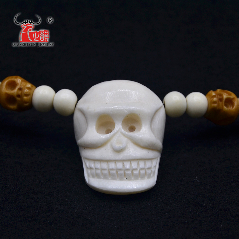 1PC High Quality Handmade Carved Yak Bone Beads Necklace skull Pendant WoMen's Men's Punk Style Choker
