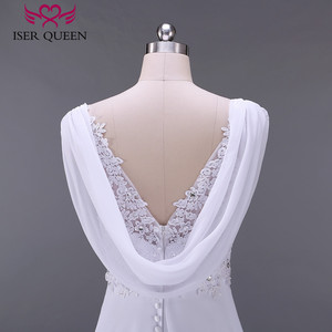 Image 5 - 패션 비치 웨딩 드레스 제국 임신 웨딩 드레스 다시 포장 플러스 크기 법원 기차시 폰 신부 드레스 w0125