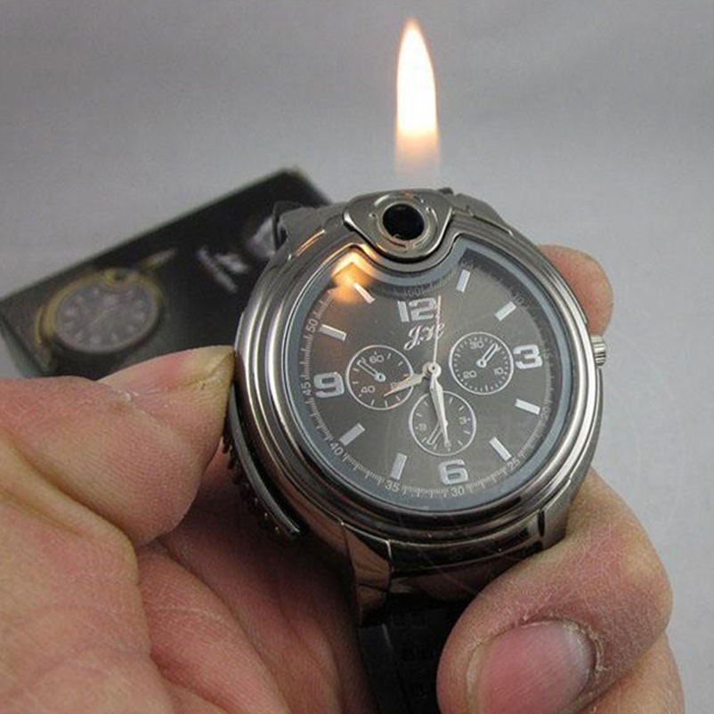 Men's Quartz Wrist Watches with Lighter Creative Military Watches Fashion Male Clocks Moment Watches Beat Gifts