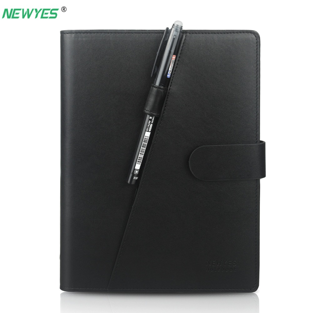 NEWYES A5 Smart Erasable Notebook Black Leather Reusable Wire Bound Replaceable Paper Diary Notepad Wave Cloud NotePad 2019 Gift