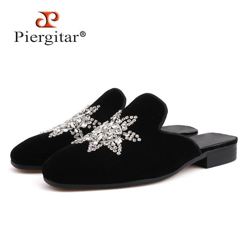 Piergitar 2019 new style Handmade crystal design men s velvet slippers Fashion party and show men