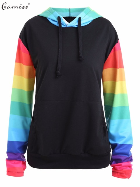 9ee4964b27d816 Gamiss Women Plus Size Autumn Hoodies Rainbow Stripe Raglan Sleeve Kangaroo  Hoodies Drawstring Sweatshirts With Kangaroo