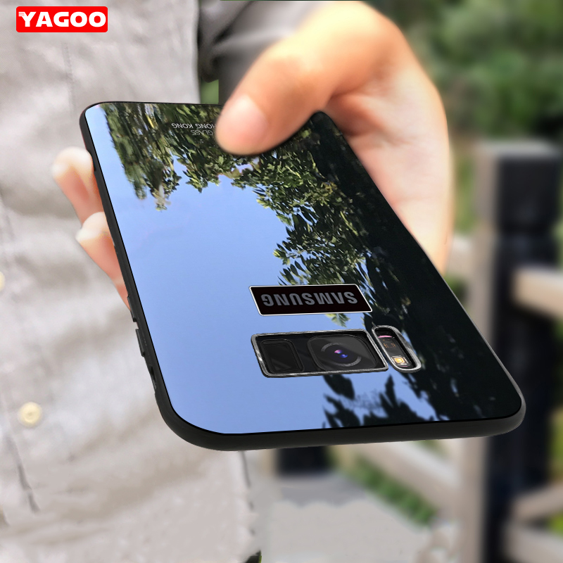 Original Yagoo for Samsung Galaxy Note 8 S8 S8 Plus case show logo tempered glass phone case for samsung s 8 plus luxury cover