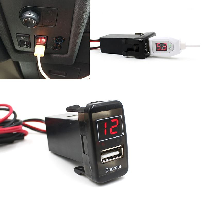 Car-styling AUTO Car 5V 2.1A USB Port Dashboard Voltmeter Phone Charger For TOYOTA for VIGO Aux Auto car-styling