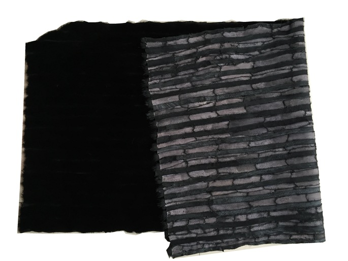 Tikro audinio kailio kailis iš natūralios juodos tikrosios juodosios audinės kailio odos