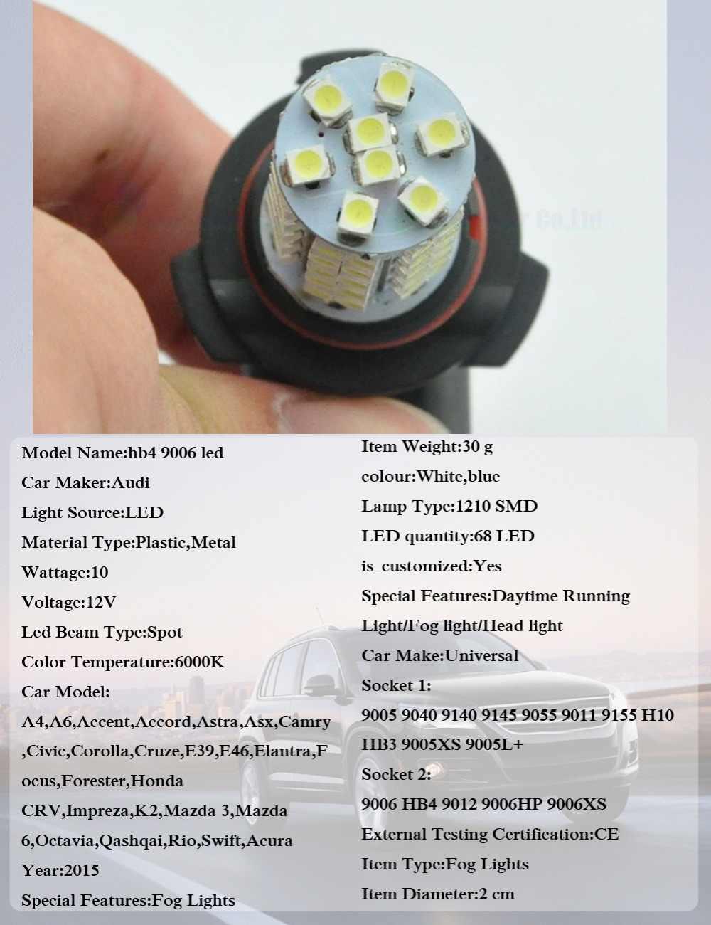 AutoEC 2x Hb4 9006 led 1210 68smd led 9006HP 9006XS fog light Automobile Bulbs DRL Wedge Bulb lamp 12v white #LI15