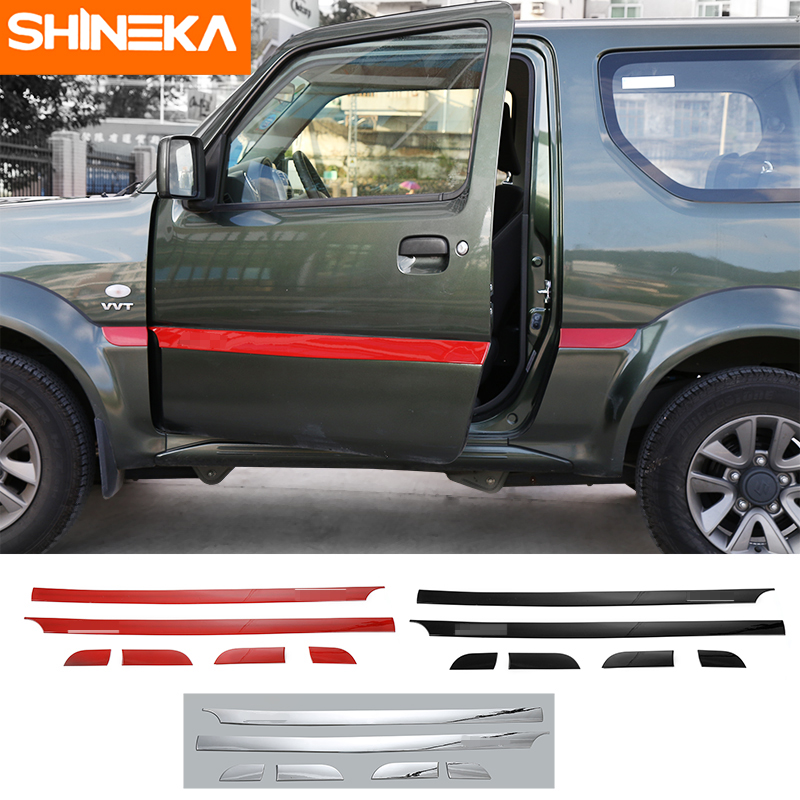 SHINEKA ABS Car Styling Car Body Door Side Molding Cover Trim Sticker Decoration for Suzuki Jimny 2007+ abs chrome body side moldings side door decoration for 2013 kia sorento car styling