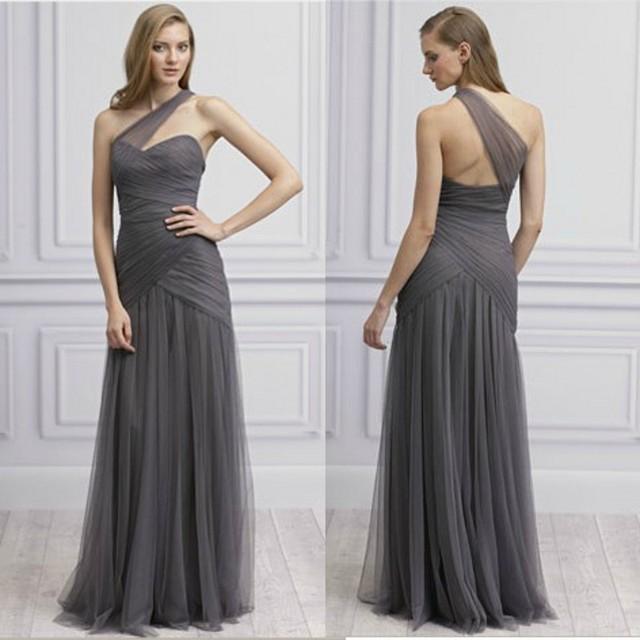 ac116cd6d8 Sweetheart oscuro gris de gasa palabra de longitud dama de honor vestidos  de baile vestido