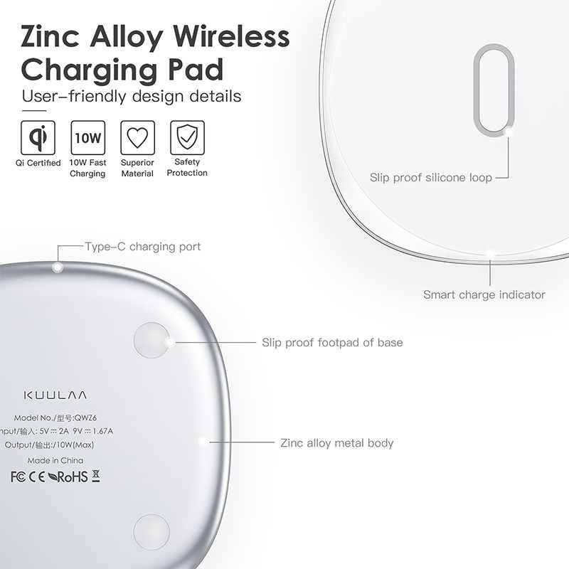 KUULAA Cargador rápido inalámbrico de 10W Compatibles con Qi Aleación de Zinc Metal para Samsung S9 S10+ Note 9 8 iPhone X/XS Max XR 8 Plus