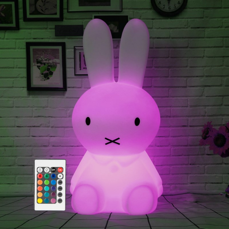 H28CM Dimmable Rabbit Table Lamp Modern Bunny Led Night Light USB for Children Baby Kids Gift Animal Cartoon Bedside Bedroom cartoon bees night light dc 5v usb rechargeable night lamps touch dimming led table lamp baby children gift bedside lamp