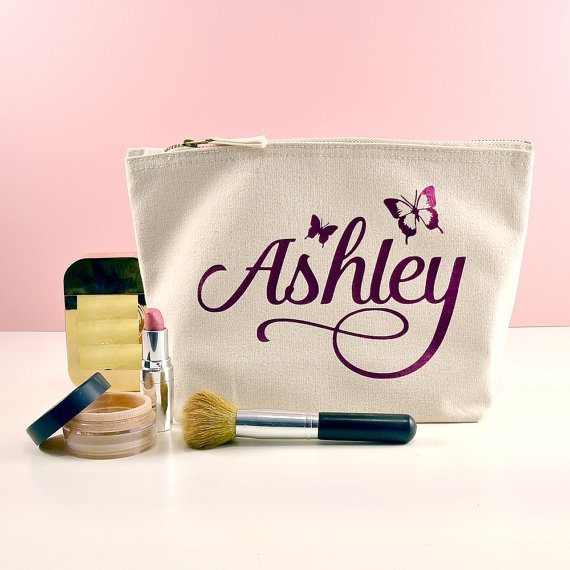 personalized butterfly names makeup toiletry kits bridesmaid wedding ...