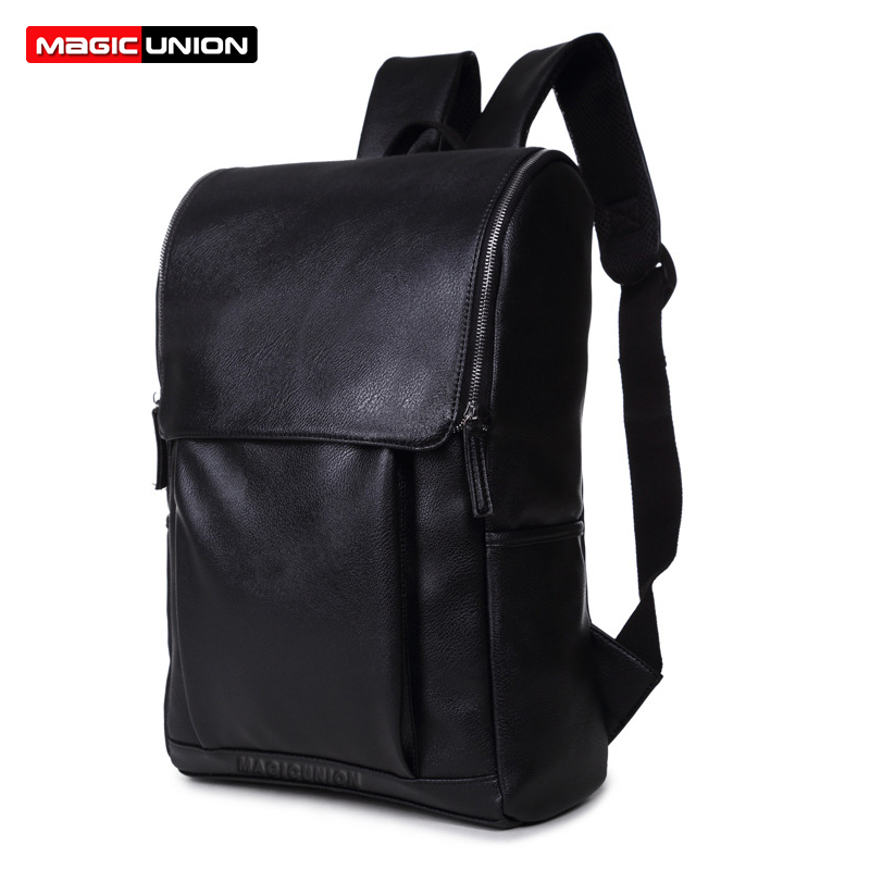 Magic Union Patent Leather Backpack Men Backpacks & Men's Travel Backpack Fashion Style Leather School Backpack  Mochila Zip