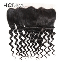 HCDIVA Loose Wave 13*4 Lace Frontals with Baby Hair Malaysian 100% Non Remy Human Hair Weave Color Natural Black 8″-18″
