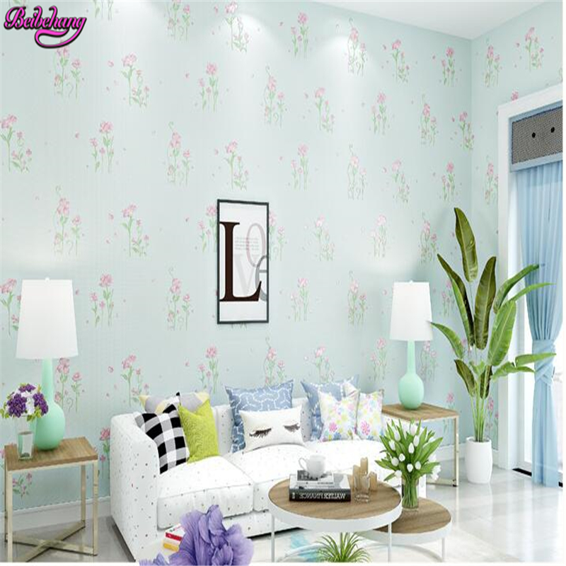 beibehang papel de parede 3D nonwovens wallpaper fresh pastoral flowers fine imitation embroidery living room bedroom background браслеты