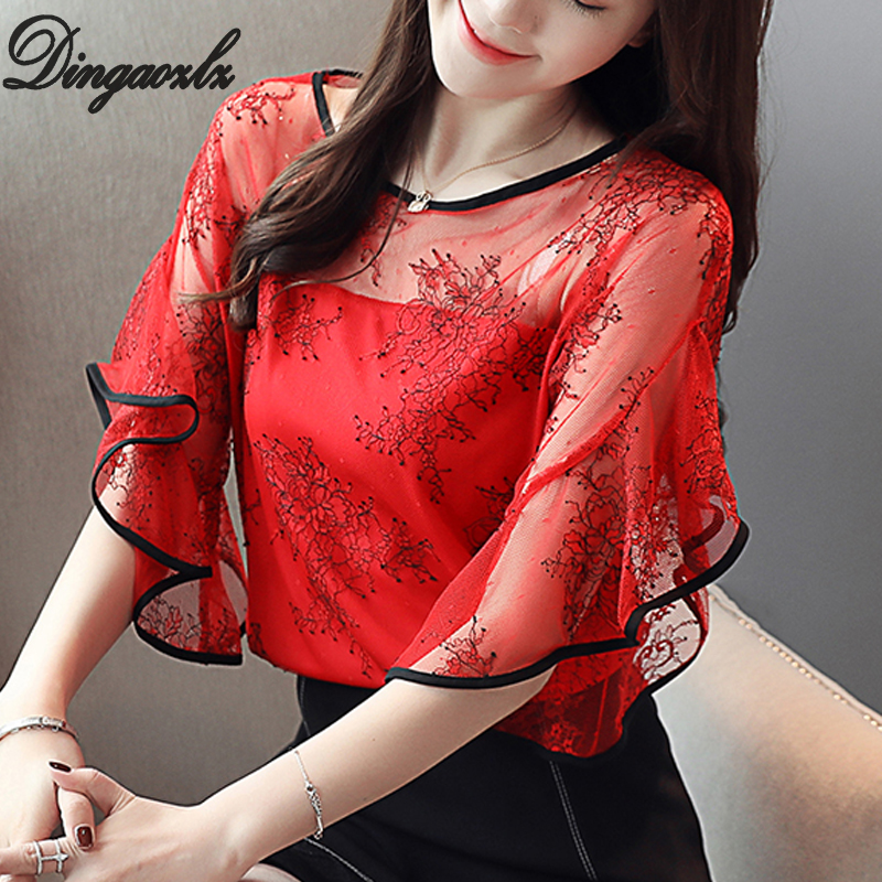 Dingaozlz Summer New Fairy Lace Stitching Women Shirt Butterfly Sleeve Embroidery Tops Casual Crochet Hollow Out Blouse