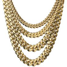 News Arrival 8/10/12/14/16/18mm Stainless Steel Miami Curb Cuban Chain Necklaces Casting Dragon Lock Clasp Mens Link jewelry