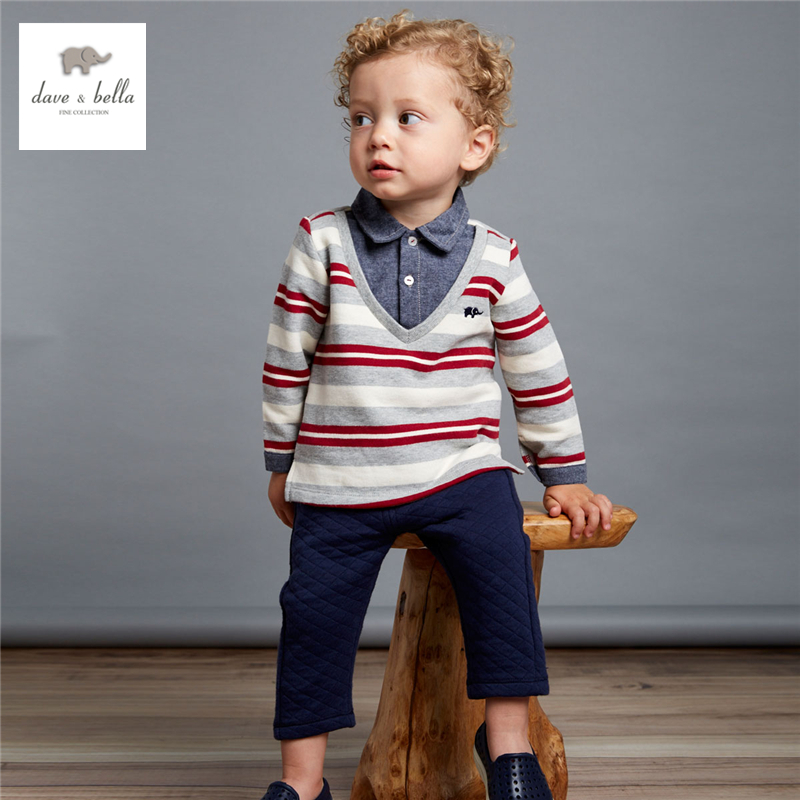 DB4071 dave bella autumn baby boys red striped clothing set boys handsome clothes ковыль фейерверк аэлита 5 шт
