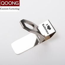 QOONG Custom Lettering Stainless Steel Silver Money Clip Holder Slim Pocket Cash ID Credit Card Metal Clips Wallet QZ40-009