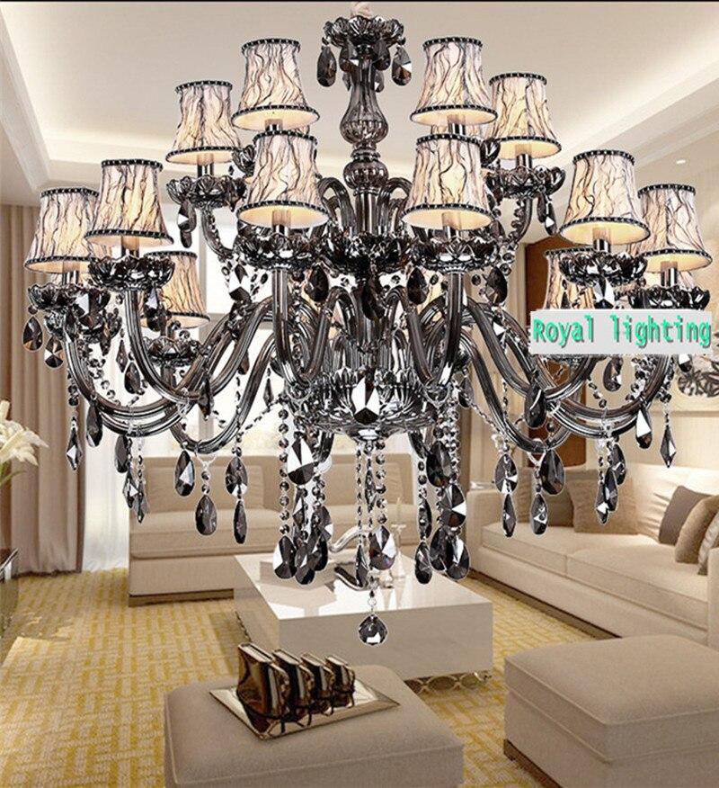 Foyer Retro Large smoke chandelier crystal lighting Parlor dining room grey black chandelier LED lustres de cristal lamp shade
