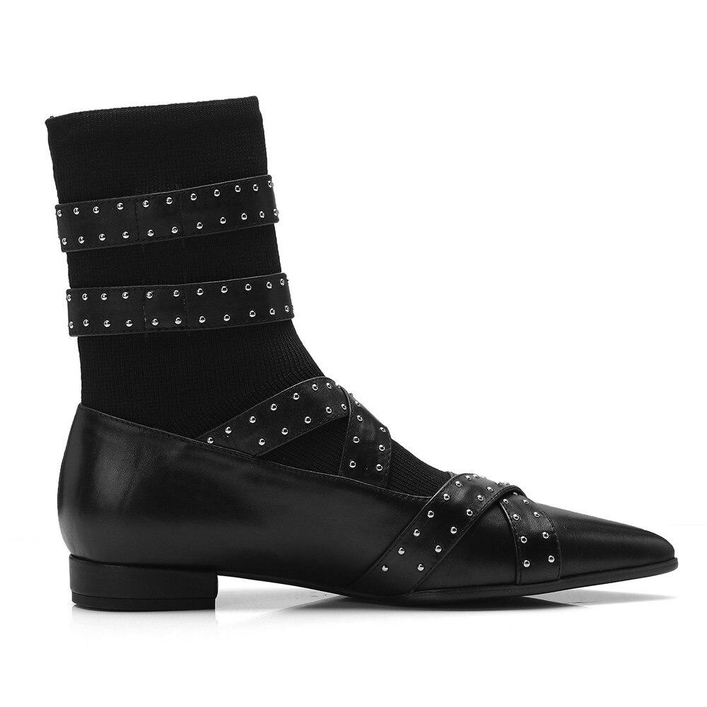 Bout Black Talon Pour Martin Bas Talons Pointu Bottes Cheville Automne Femmes Chaussures Hiver Noir Chaussons Épais Aiweiyi Glissent Sur wqXfRUU