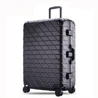 20 24 26 29 дюйм(ов) тележка чемодан Алюминий Сумки на колёсиках с замком TSA большой Ёмкость малая де Viagem дорожного чемодана