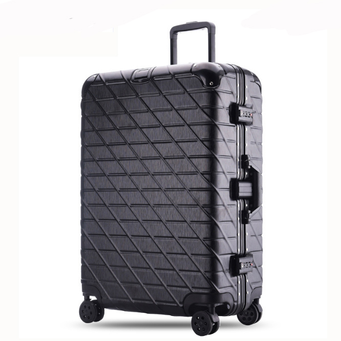20 24 26 29 inches Trolley Suitcase Aluminum Rolling Luggage With TSA Lock Large Capacity mala de viagem Travel Suitcase 12 20 24 26 gray vintage travel suitcase trolley luggage retro trolley luggage suitcase bags free shipping with tsa lock
