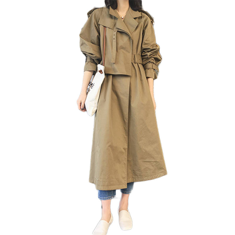 2019 Spring Autumn Fashion Woman Elegant Classic Long   Trench   Coat Female Casual Loose Waterproof Raincoat Business Outerwear M71