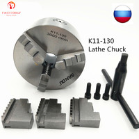 SAN OU 3 Jaw 5 Self Centering Lathe Chuck K11 130 K11 130mm Cast Iron with Wrench and Screws for Drilling Milling Machine
