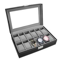 OUNONA 12 Slots Leather Glass Window Watch Holder Folding Display Storage Store Organizer With Lock Box Case