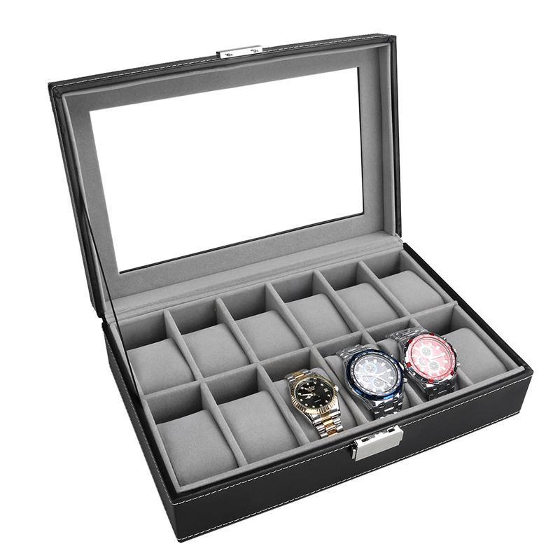 OUNONA 12 fentes en cuir verre fenêtre support de montre pliant affichage stockage magasin organisateur avec serrure boîte Case