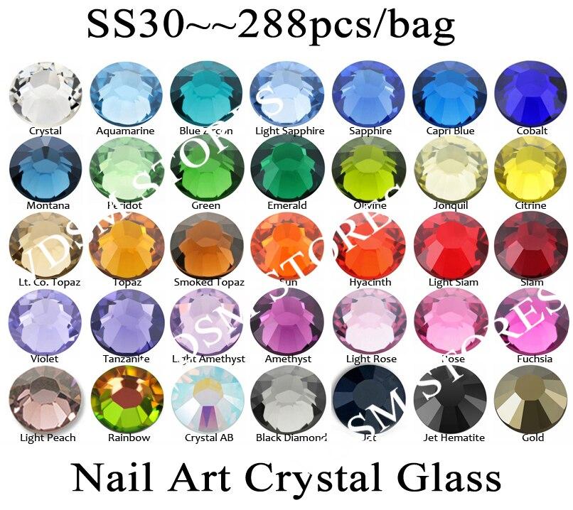 288 шт./лот, ss30 (6,3-6,5 мм) с украшением в виде кристаллов разноцветные Б ез исправлений 3D дизайн ногтей камни с плоской задней частью стразы стек...
