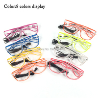 2017 New Design Rave Glasses EL Wire Glowing Glasses With DC 3V Steady On Inverter 20pcs