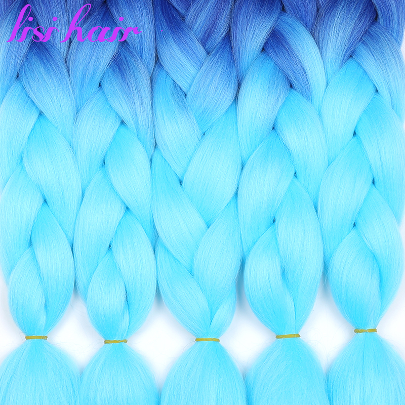 LISI HAIR Jumbo Braids Ombre Long Synthetic Braiding Hair Blonde Pink Blue Grey Multiple Colour 100g 24 Inches