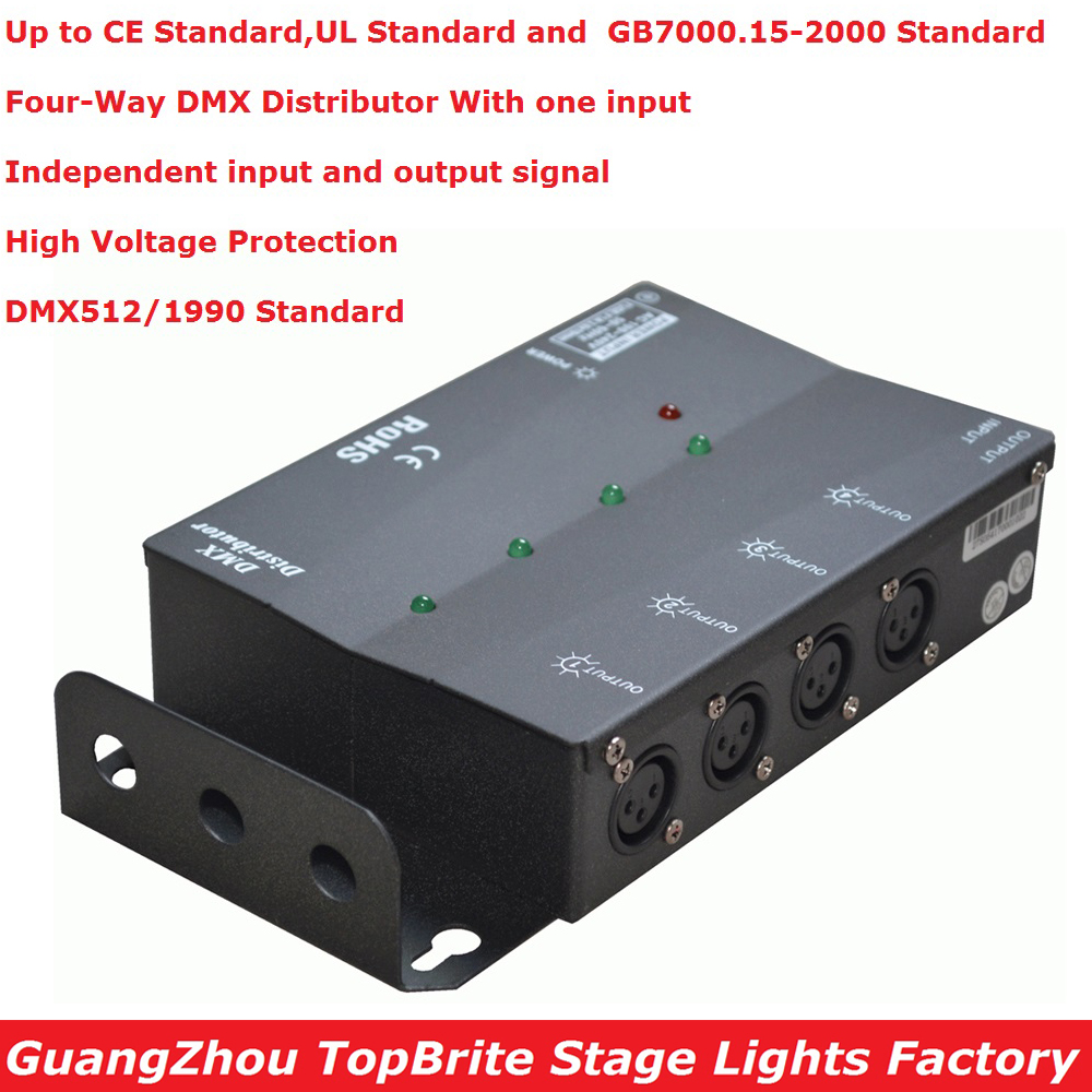 Best Price 1XLot Four - Way DMX Splitter DMX512 Light Stage Light Signal Amplifier 4 Way DMX Distributor For Stage Equipments dhl fedex free shipping best quality 8ch dmx splitter dmx512 light stage lights signal amplifier splitter 8 way dmx distributor