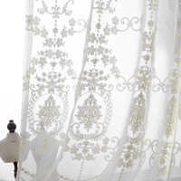 European Palace Designs Luxury Cotton Thread Embroidered Sheer Curtains For Living Room Kitchen Cafe Home Decor