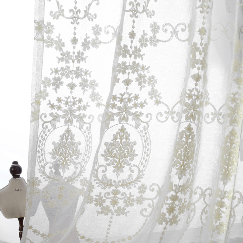 Geborduurde vitrage European Palace Designs Beige Window tulle Home decor Bloemenpatroon Luxe Voile gordijnen