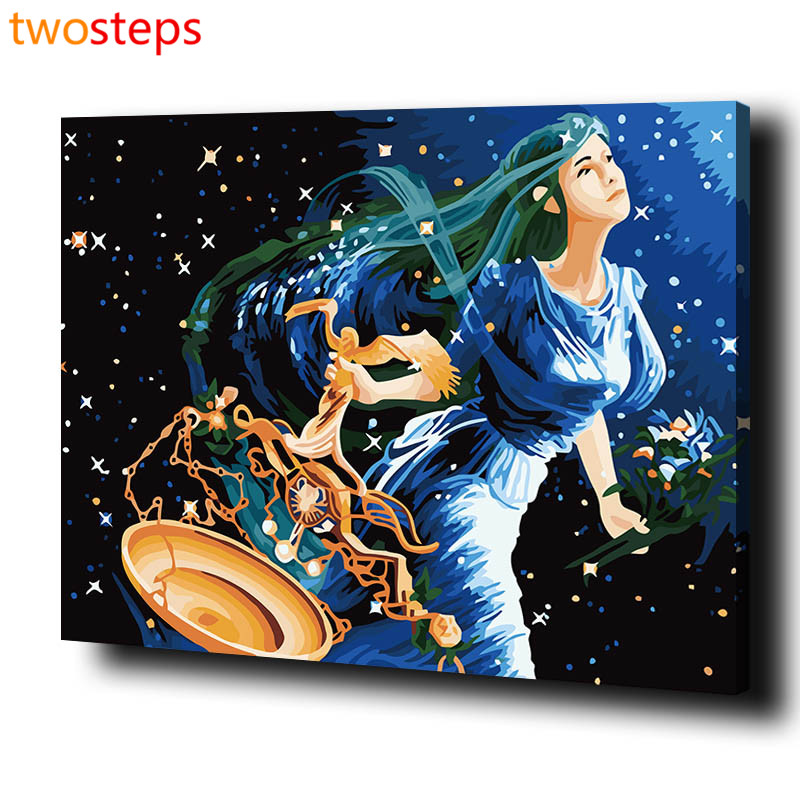 TwoSteps DIY Digital Canvas Oil Painting By Numbers Coloring By Numbers Modern Large Acrylic Paint By Number Kits Sign Of Libra