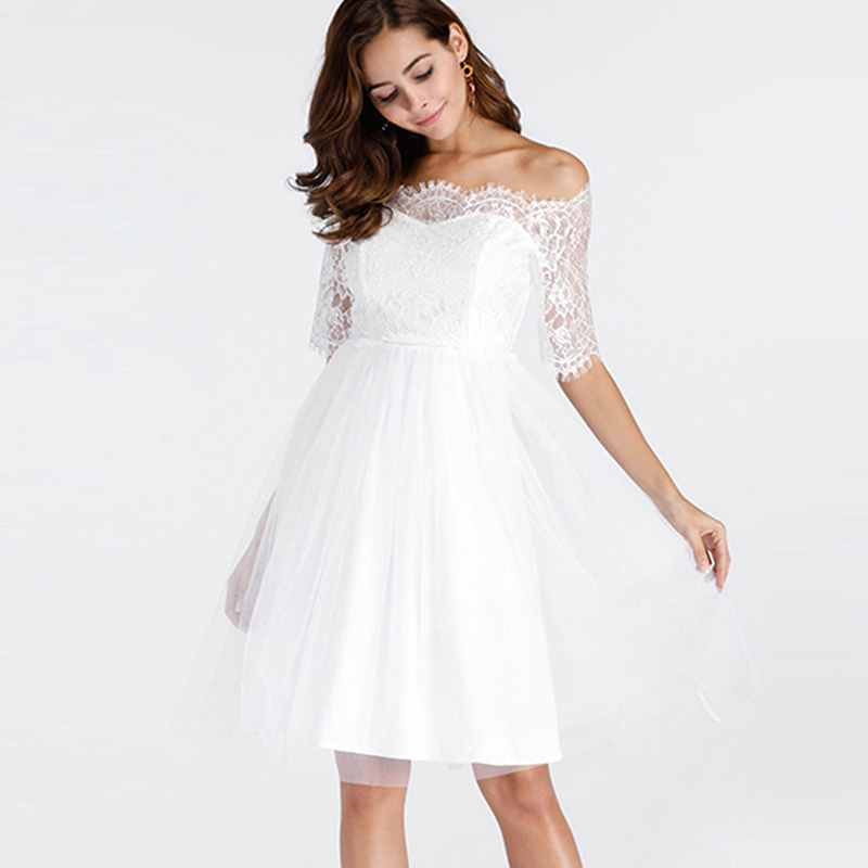 Saimishi Dobby Lace Sleeve Eyelash Lace Scallop Edge High Waist A-Line Dress 2018 Summer Fashion Off Shoulder Mesh Midi Dress