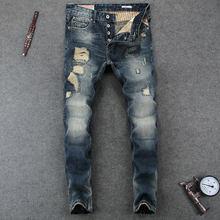 Italienische Vintage Designer Männer Jeans Blau Farbe Slim Fit Baumwolle  Hosen Marke Jeans Männer Hohe Qualität Zerstört Zerriss. 191188d55d