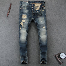 цена на Italian Designer Men Jeans Fashion Skinny Jeans High Quality Slim Fit Stripe Destroyed Ripped Jeans Mens Pants Size 29-38