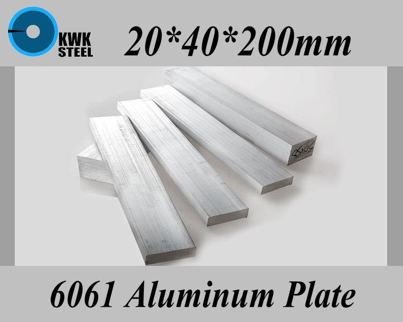 Placa de Liga de Alumínio de Alumínio Folha de Material Faça Você Mesmo Frete Grátis 20*40*200mm 6061