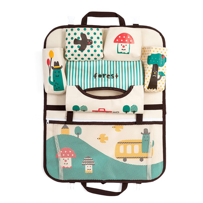 Car Cartoon Back Seat Storage Bag Organizer Food Phone Stowing Tidying Accessories Supplies Gear Items Stuff Products